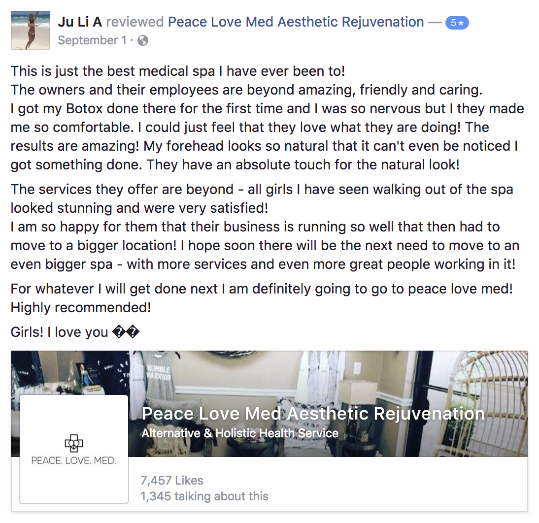 A screenshot of a testimonial from Peace.Love.Med.'s client JU Li A