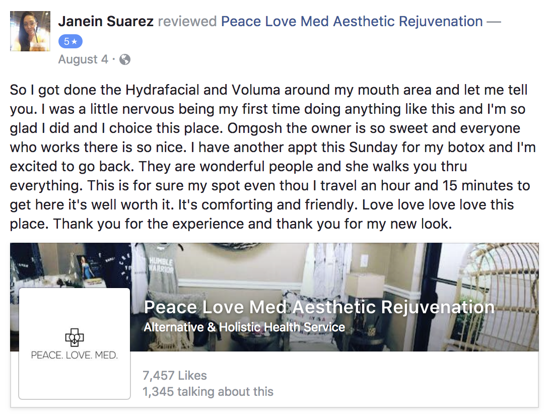 A screenshot of Janein's testimonial about Peace.Love.Med.