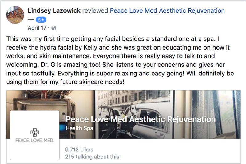 a screenshot of lindsey's testimonial about the vampire facial treatment