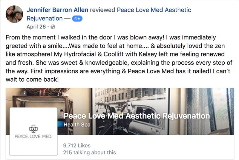 a screenshot of a testimonial of a woman who did the vampire facial treatment